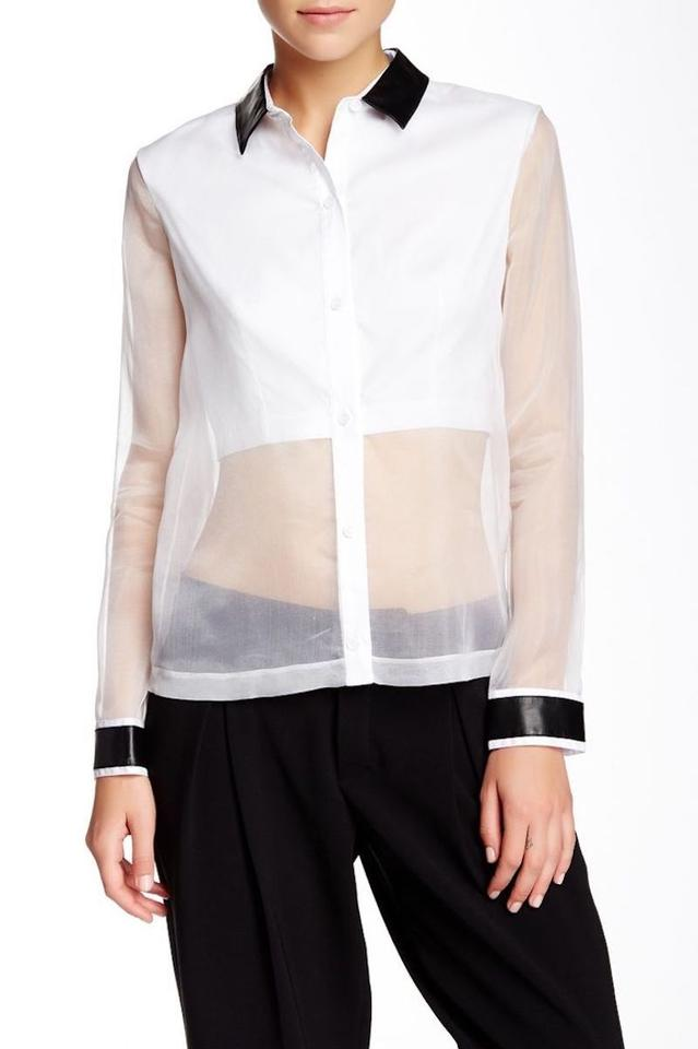 48e8c1f38fb05 Robert Rodriguez White Leather Collar Sheer Organza Blouse Size 10 ...