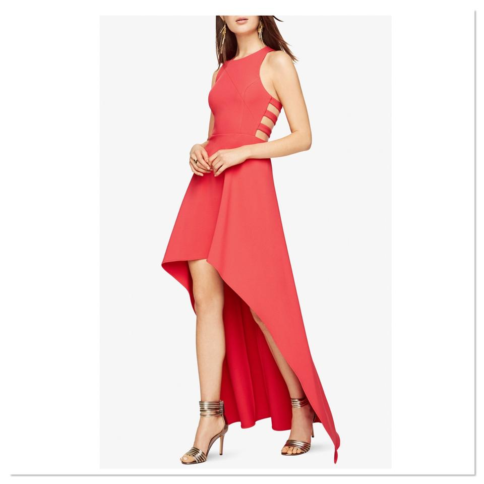 BCBGMAXAZRIA Red Berry Rosalyn High Low Cutout Long Formal Dress ...