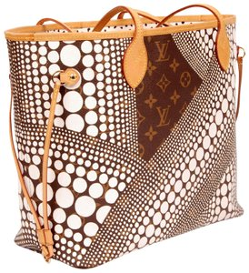 Louis Vuitton Neverfull Yayoi Kusama Canvas Limited Edition Collector Tote in Brown/White