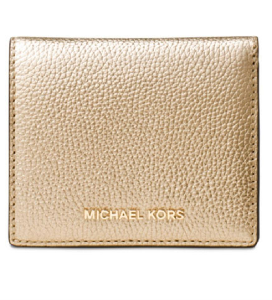 ac1ea2141a23 Michael Kors Michael Kors Leather Card Case Pale Gold Flap Card Holder  Wallet Image 0 ...
