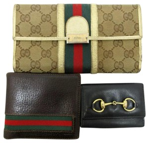 Gucci Auth 3 Item Set GUCCI Long Wallet Bifold Wallet Key Case Canvas Leather 43932