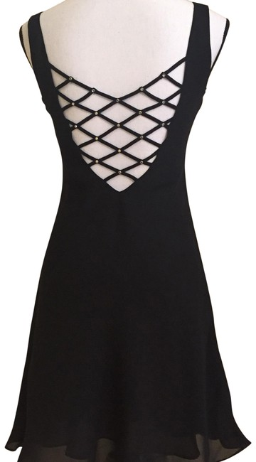 Item - Black Rhinestone Criss Cross Open Party Mid-length Cocktail Dress Size 4 (S)