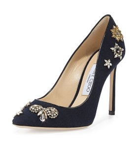 Jimmy Choo Jeweled Snakeskin Made In Italy Crystal Embellished Luxury Designer Navy Pumps