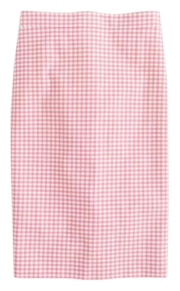 00e11ec3c7a4 J.Crew Pink No. 2 Pencil In Gingham Two-way Stretch Cotton Skirt ...