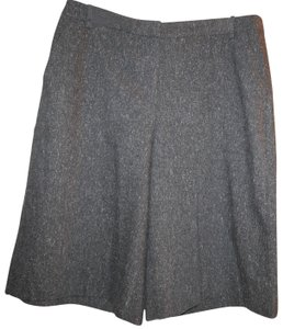Pure Collection Wool Pockets Textured Charcoal Tweed Capri/Cropped Pants