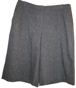 Pure Collection Wool Pockets Textured Tweed Capri/Cropped Pants Charcoal