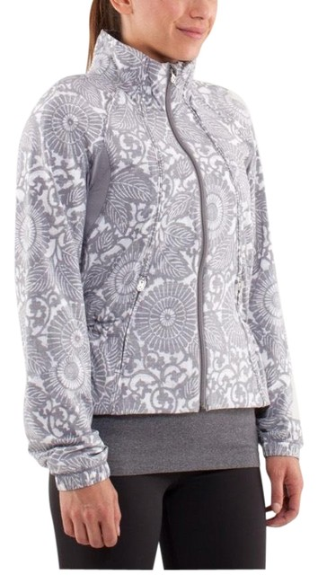 Item - Light Grey and White Fossil Floral Travel To Track Activewear Outerwear Size 4 (S)