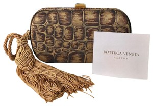 Bottega Veneta Alligator Satin Brown Clutch