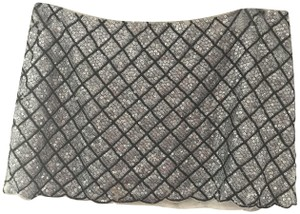 Gryphon Sequin Chic Scalloped Checkered Mini Skirt Silver