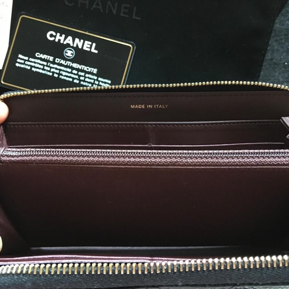 06e71ea7784b52 Chanel Chanel Black Quilted Caviar Leather L Gusset Zip Wallet Image 8.  123456789