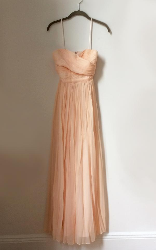 1b74e58c02 J.Crew Soft Peach Silk Chiffon New Arabelle In (P00) Feminine  Bridesmaid/Mob Dress