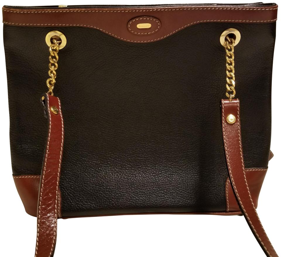 7b6c16e439771 Bally Vintage Purse Black and Brown Leather Shoulder Bag 89% off retail
