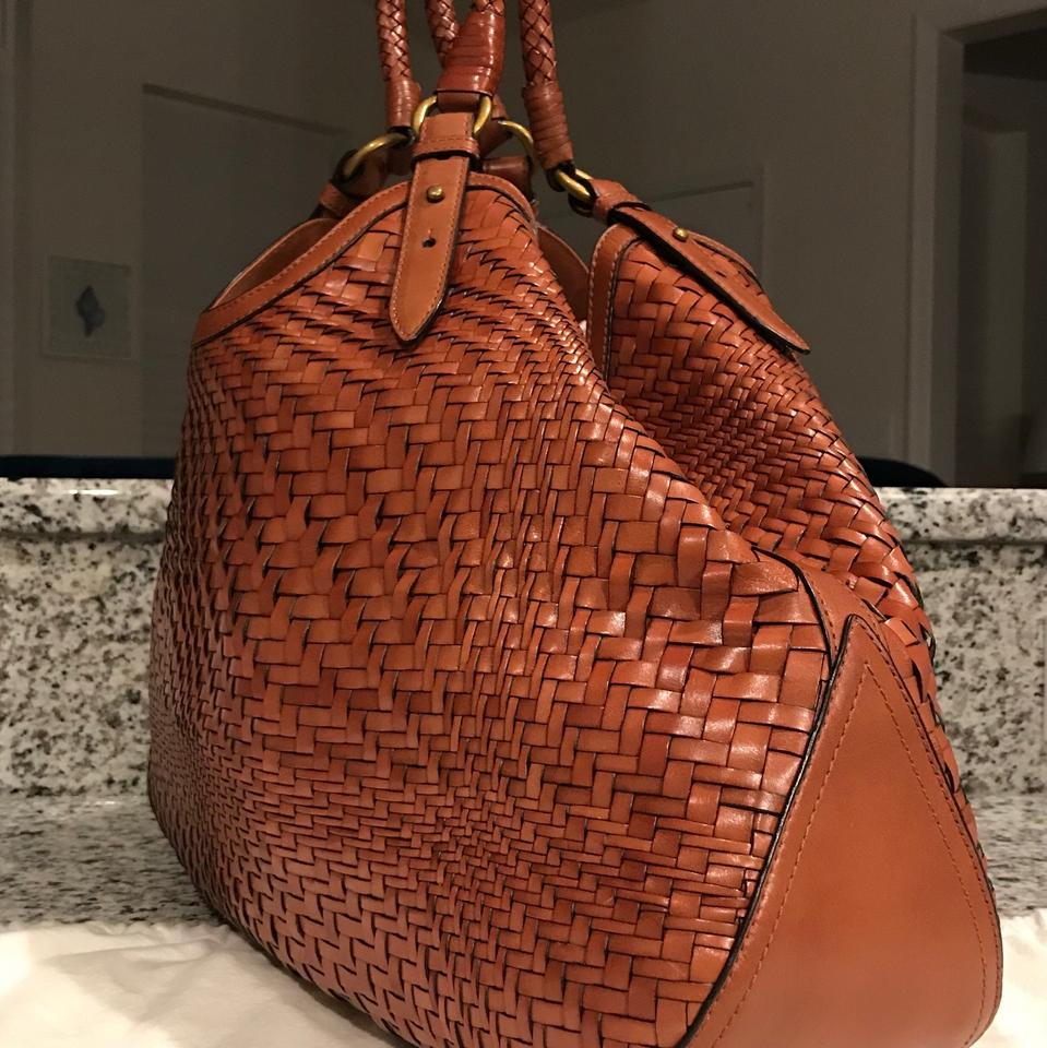 Cole Haan Triangle Woven Weave Leather Braided Tote In Saddle Brown Cognac 1234567891011
