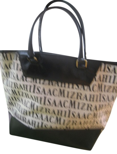 Preload https://item2.tradesy.com/images/isaac-mizrahi-111-black-and-white-canvas-leather-tote-2245411-0-0.jpg?width=440&height=440