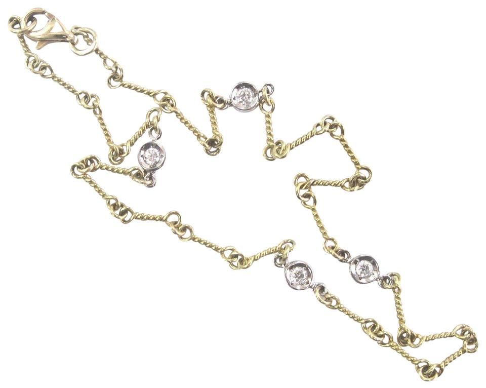 af4a13bdb8c Roberto Coin Roberto Coin 18Kt Dogbone Chain Yellow Gold Diamond Station  Bracelet Image 0 ...