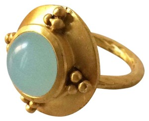 Julie Vos Julie Vos NEW 24K Gold-Plated Neoclassical Aqua Chalcedony Ring