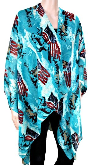 Other American Flag and Horse Turquoise Blue Poncho Wrap Coverup