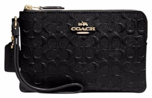 Coach Patent Leather Signature Wristlet in Black