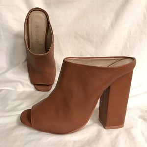 Allegra K Pump Bootie Open Toe Peep Toe Faux Leather Brown Mules