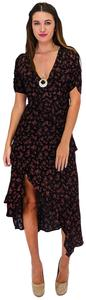 Black Maxi Dress by Honey Punch Refreshed Ruffles Floral Maxi