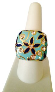 2 B Rych NWOT Enamel Navy/Turquoise In Gold-Tone Ring, Size 7