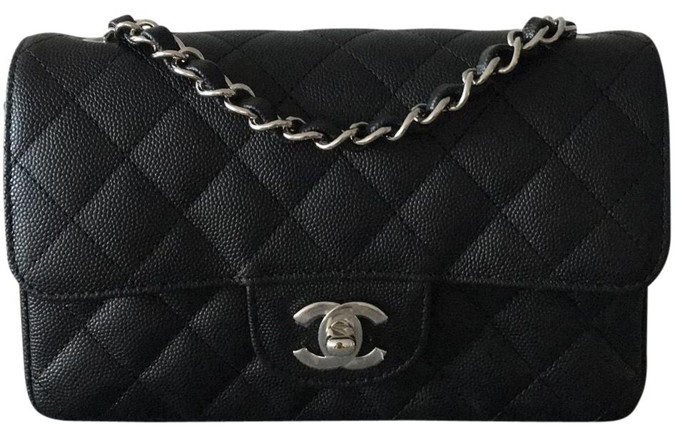 876377bb Chanel Classic Flap 2018 Mini Rectangle Caviar Black Leather Cross Body Bag