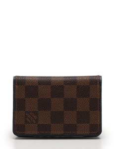Louis Vuitton LOUIS VUITTON Bifold Pass Card Case Holder Damier Ebene Leather