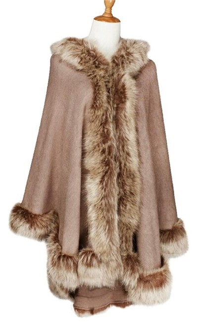 Item - Khaki Brown Fur Trimmed Wrap Hooded Shawl Poncho/Cape Size OS (one size)