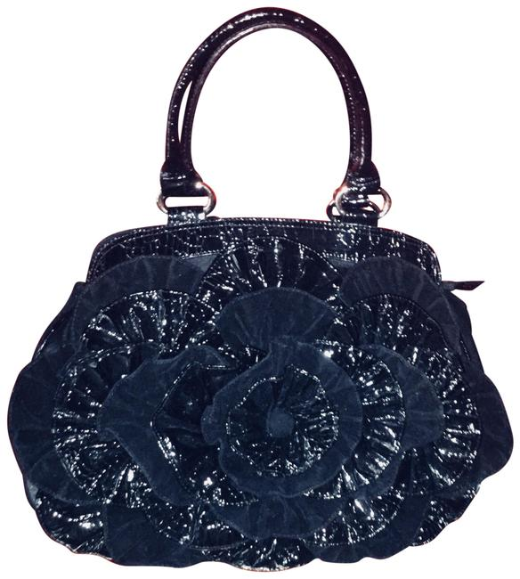 Item - Flower Velvet Palazzo Black Mixed Media Satchel