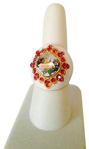 Other Embellished byLeecia NWOT White Enamel With White & Hot Pink Crystals In Gold-Tone Dome Ring, Size 7