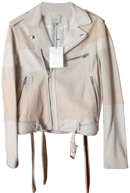 Item - Light Blush Pink and White New Leather Bomber Jacket Size 6 (S)