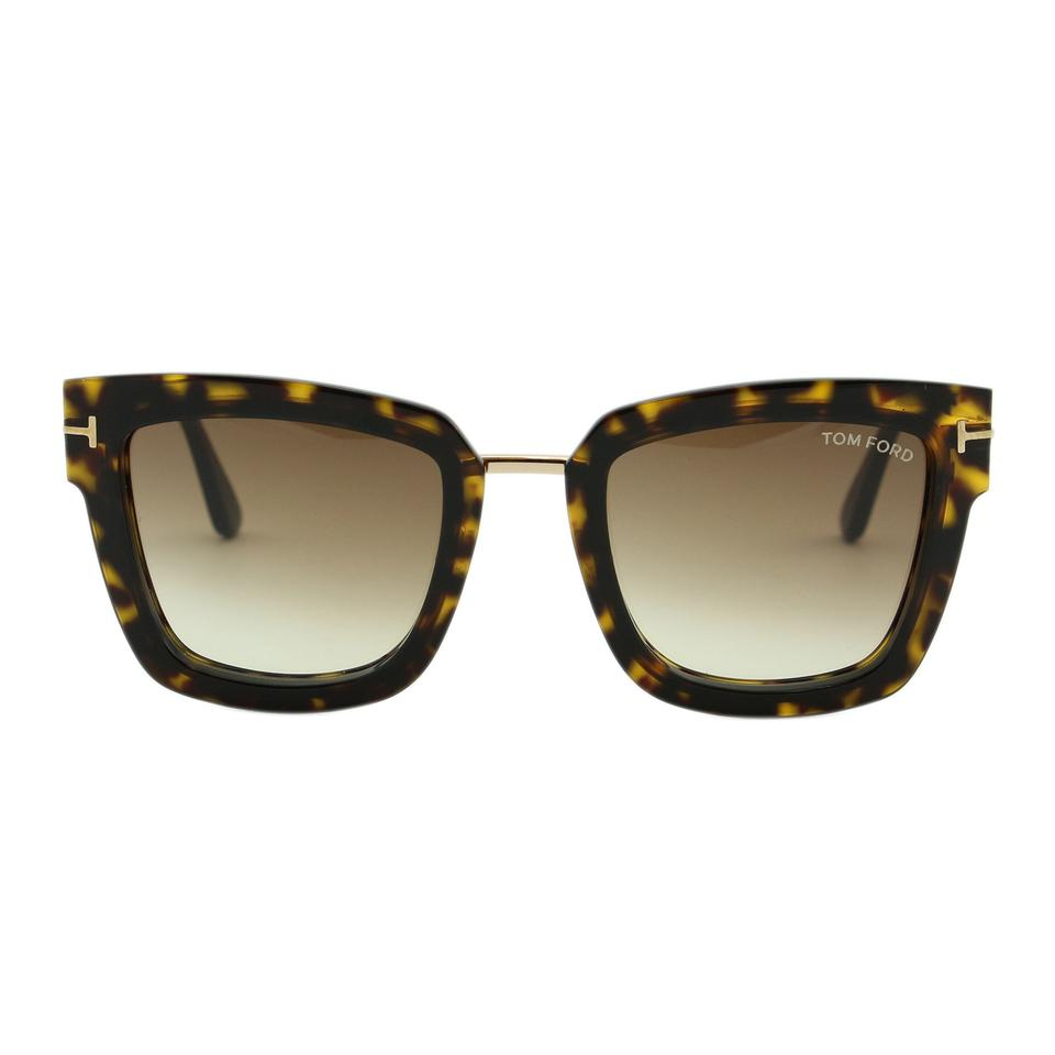 32a01ed3a14 Tom Ford Dark Havana New Lara-02 Tf573 52f   Gold Square Sunglasses ...