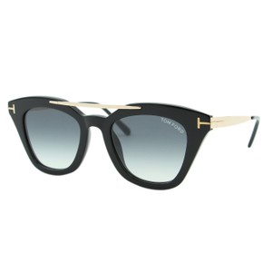 Tom Ford New TOM FORD ANNA-02 TF575 01B Black Gold Brow Bar Cat-Eye Sunglasses