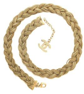 Chanel #11567 RARE CC Wide Interwoven long gold chain necklace belt two way