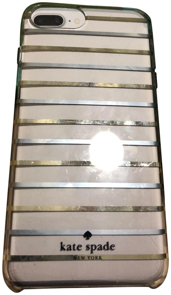 low priced 5dd08 ceb25 Kate Spade Clear with Gold & Silver Foil Stripes Surprise Case For Iphone 7  Plus Or 8 Plus Tech Accessory