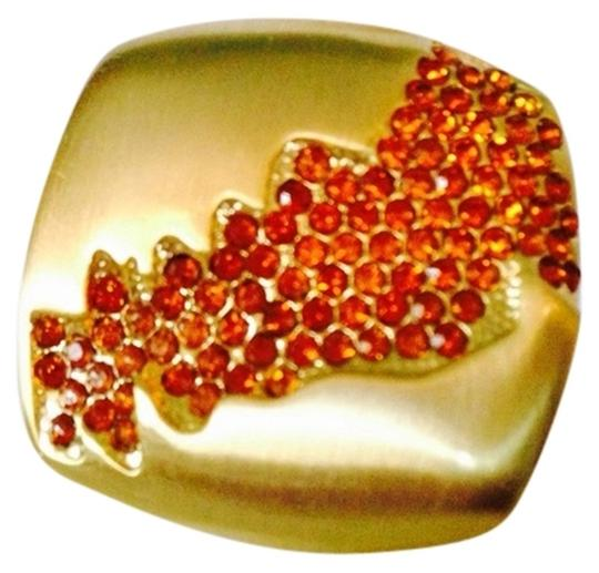 Other Embellished by Leecia NWOT Faceted Mandarin Crystals In Satin Finish Gold-Tone Ring, Size 7