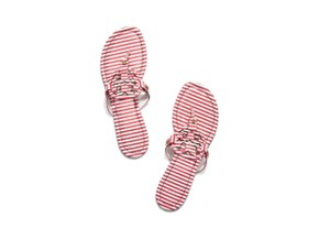 Tory Burch Miller Thong NAUTICAL STRIPES SMALL NANTUCKET RED/ WHITE Sandals