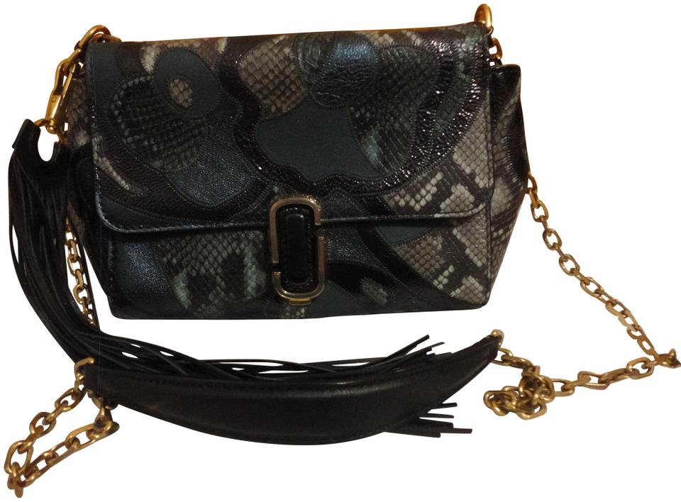 77e0d9b44231 Marc Jacobs J Snake Patchwork Teal Tassel Blue Leather Shoulder Bag ...