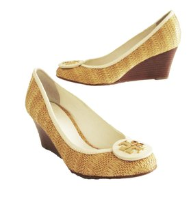 Tory Burch Sally Raffia Natural Straw Wedges