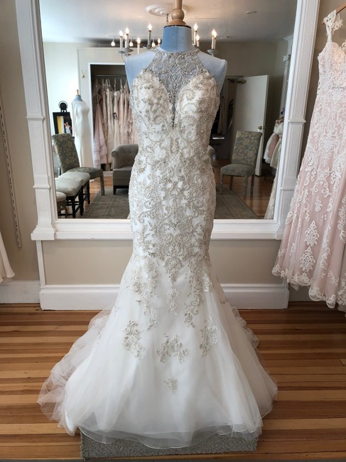 Item - Ivory/Silver/Champagne Beading/Tulle Organza D2403 Formal Wedding Dress Size 10 (M)