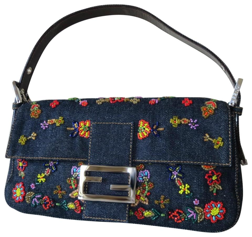 2927dc1d14d664 Fendi Beads Beaded Flower Shoulder Clutch Blue Multi Denim Baguette ...