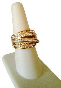 Other Embellished by Leecia NWOT White Crystal Multi Ribbon Gold-Tone Ring, Size 7