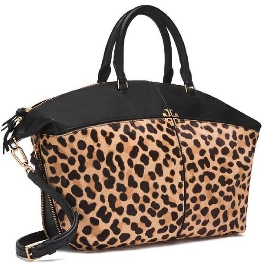 Tory Burch Animal Print Fall Winter Holiday Tote in Leopard black