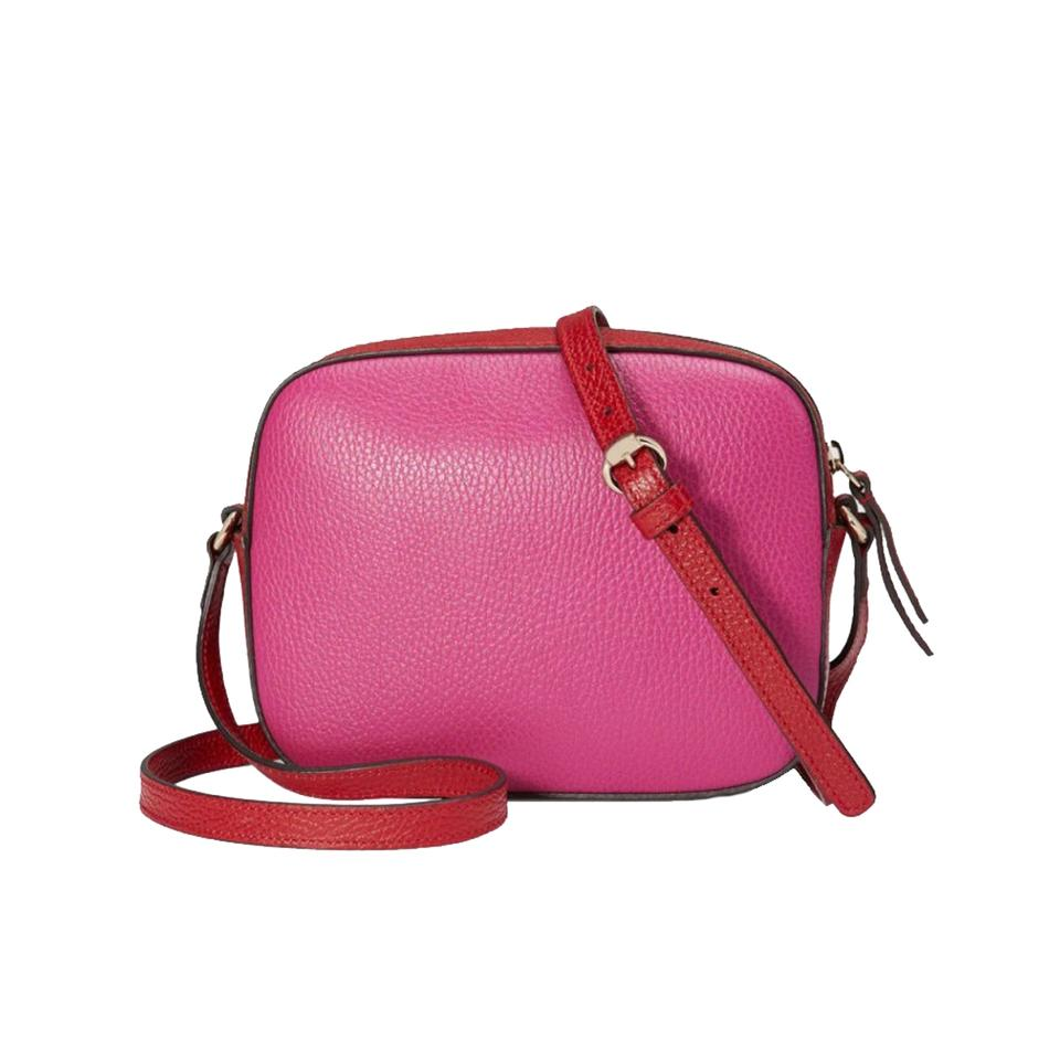 93368ff015ad Gucci Soho Women's Disco 431567 Pink and Red Pebbled Leather Cross ...
