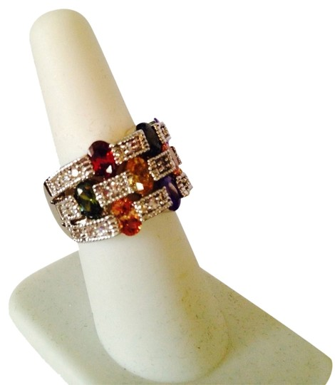 Preload https://img-static.tradesy.com/item/2245778/multi-colorsilver-embellished-by-leecia-nwot-cubic-zirconia-checkerboard-design-in-ring-size-7-0-0-540-540.jpg