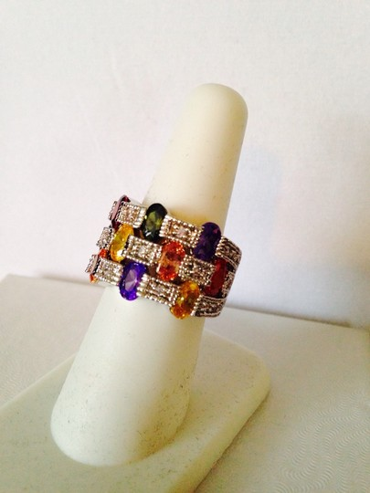 Other Embellished by Leecia NWOT Multi-Color Cubic Zirconia Checkerboard Design In Silver Ring, Size 7