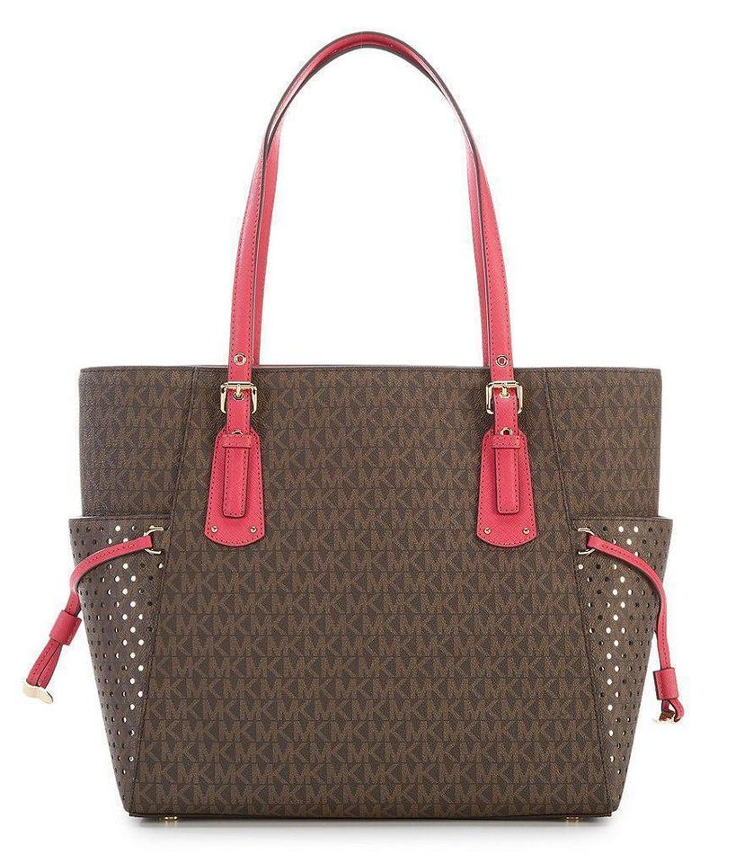 263cd4a591b151 Michael Kors Voyager Jet Set East/West Brown/Ultra Pink Tote - Tradesy