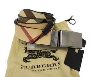 Burberry Authentic BURBERRY Horseferry Check and Leather Belt