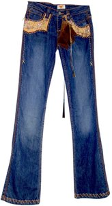 Antik Denim Beaded Designer One Of A Kind Flare Leg Jeans-Dark Rinse