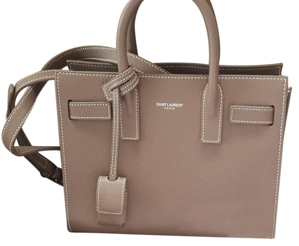 d7acd6bdaee Saint Laurent Sac de Jour 2017 Yves Nano Grained Taupe Leather Tote ...